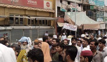 oadsheding protest in charsadda