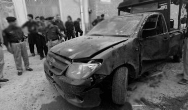 A bomb attack on a police mobile in Karkhano Market